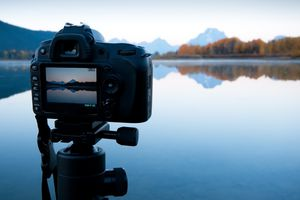 Camera capturing lakes and mountians