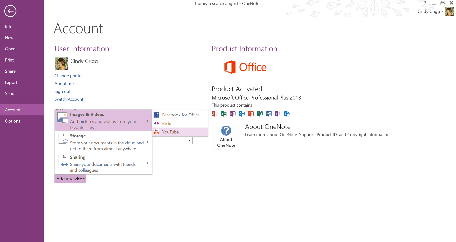 Share OneNote to YouTube