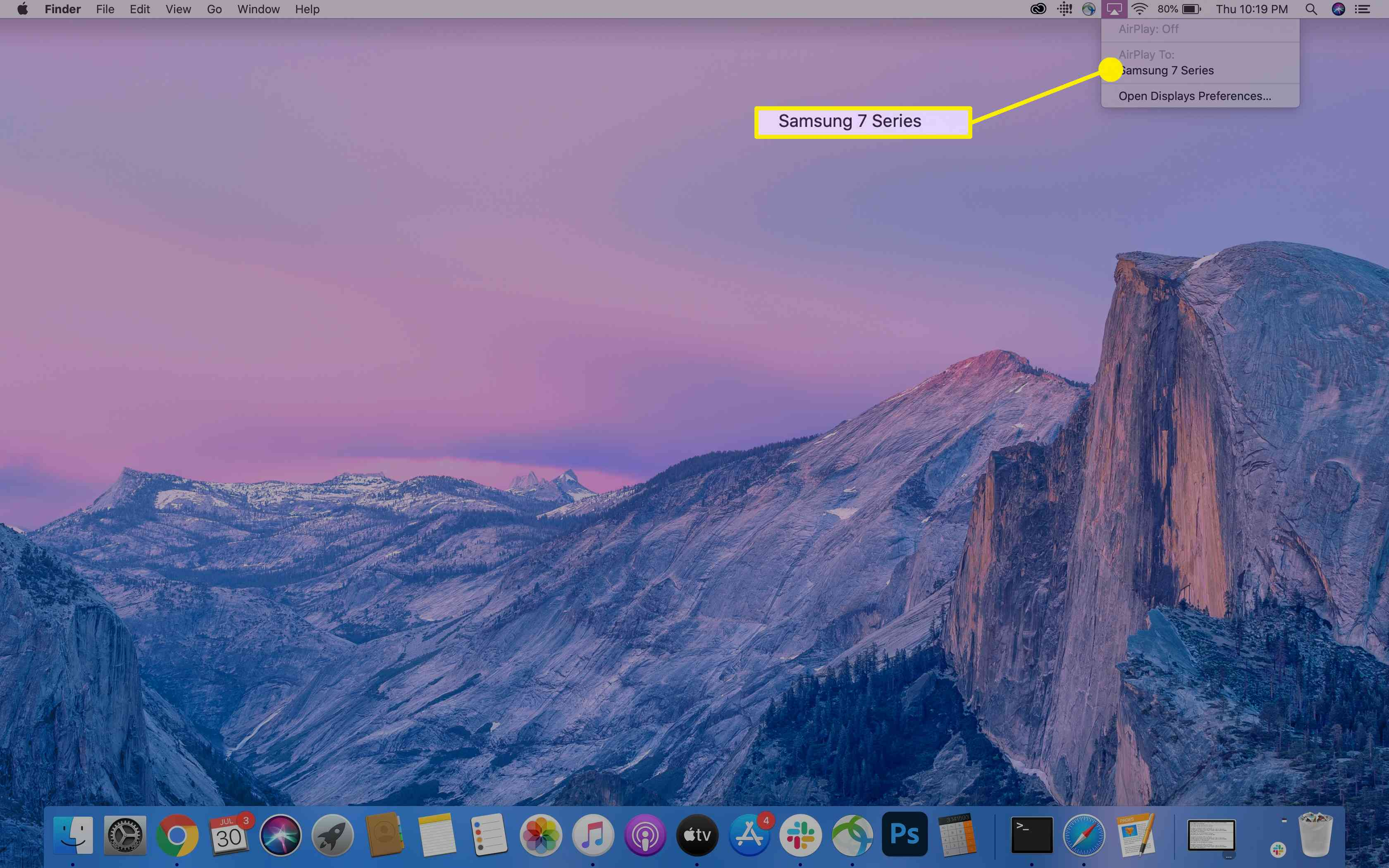 An available device to mirror to using the AirPlay icon on a MacBook.