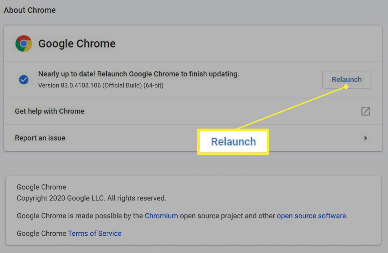 Google Chrome update screen