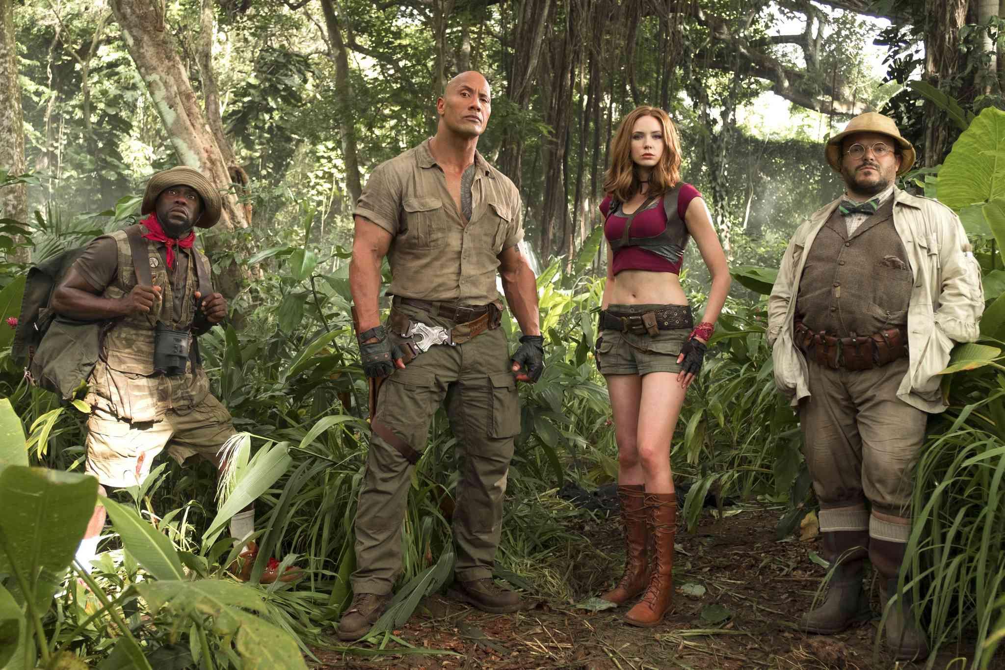 Kevin Hart, Dwayne Johnson, Karen Gillan and Jack Black in Jumanji: Welcome to the Jungle (2017)