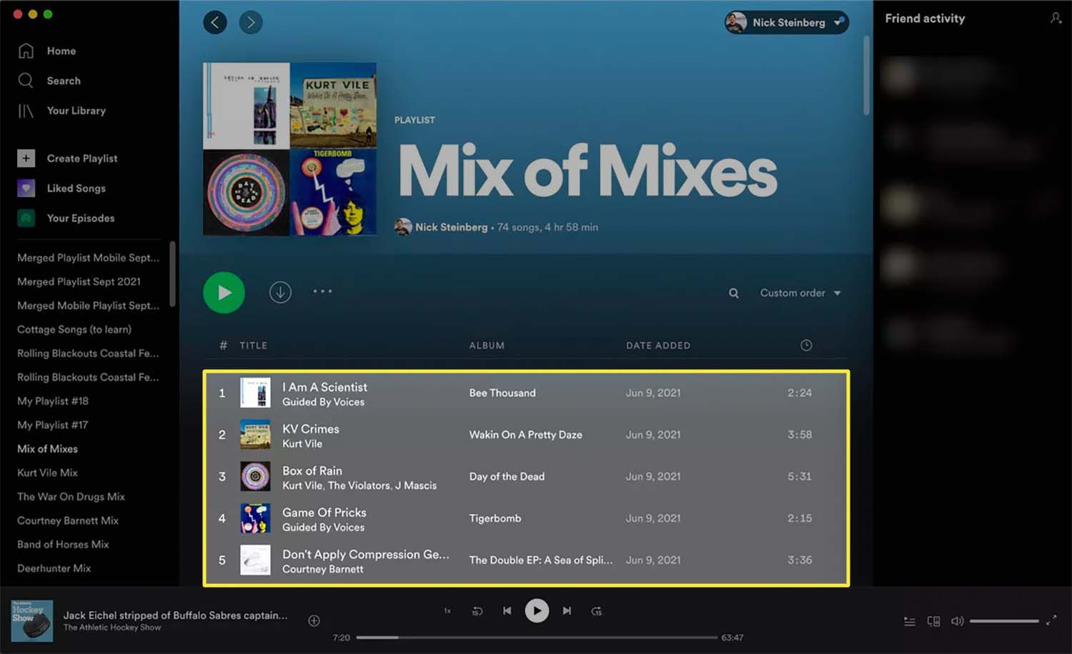 Selecting all songs in a playlist on Spotify for Mac.