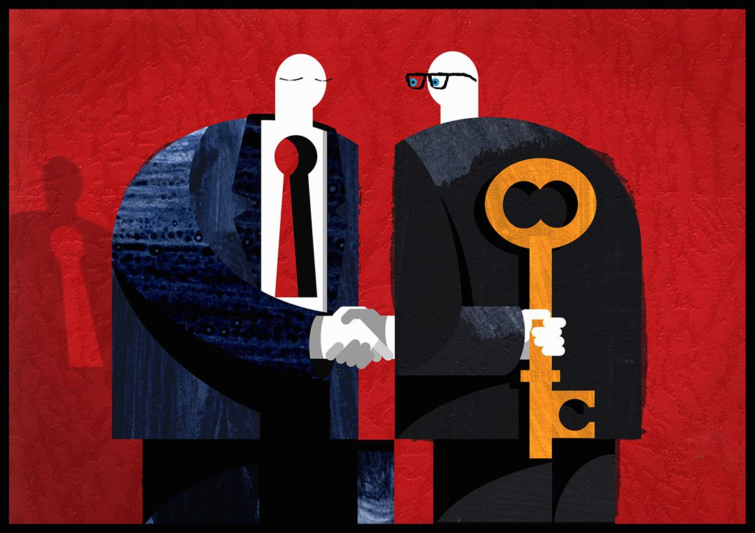 Graphic of two men shaking hands but one man holds a key behind his back