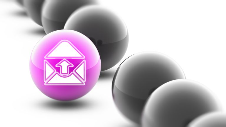 Email icon on purple sphere in a line of other darker spheres