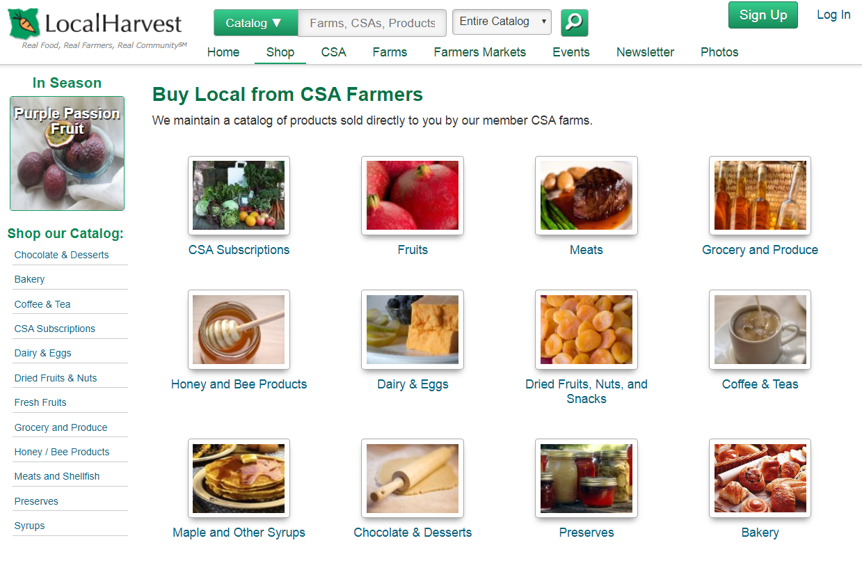 Local Harvest shop page
