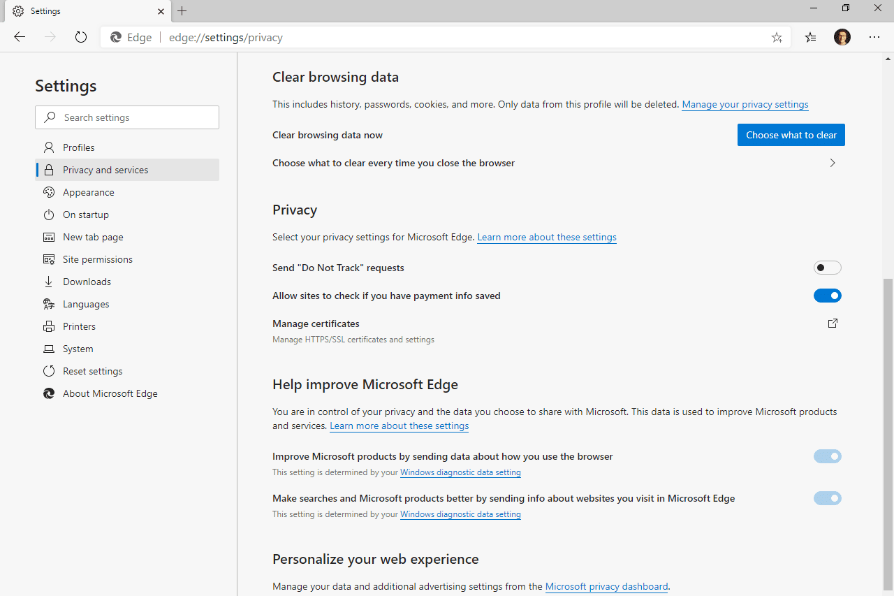 Edge clear browsing data section of the settings