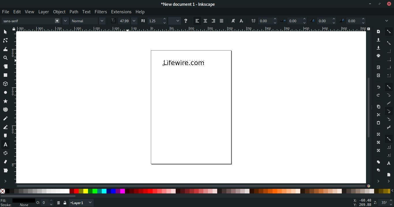 Text entered in Inkscape
