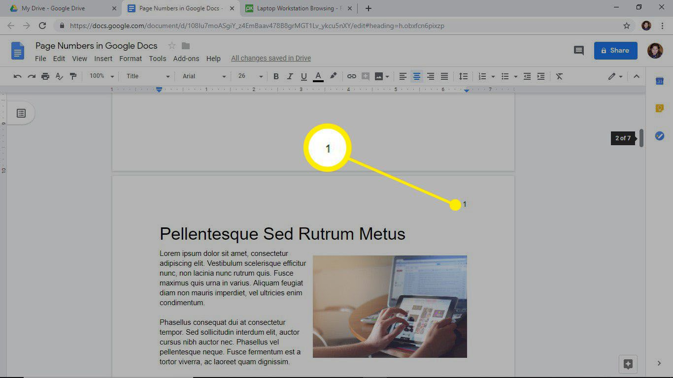 Page numbering starts on page 2 in Google Docs