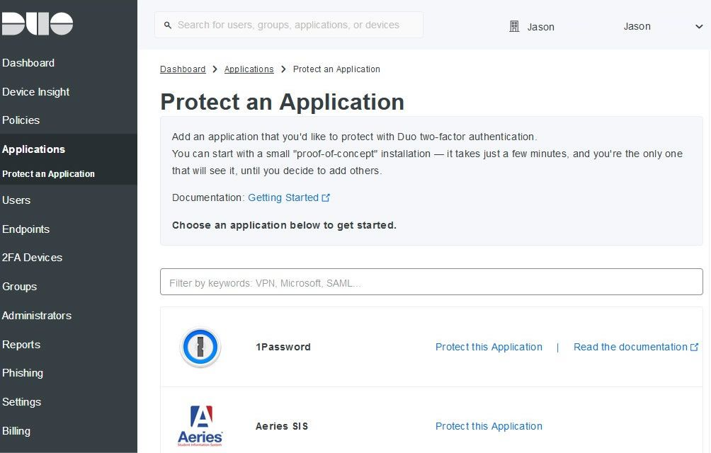 A screenshot of Duo's Protect an Application options.