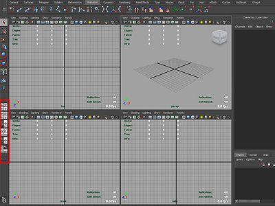Maya Four-Panel Viewport