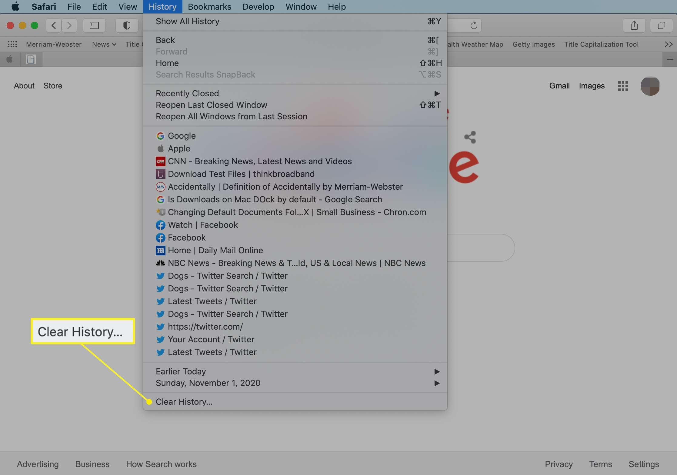 Safari History menu with Clear History highlighted