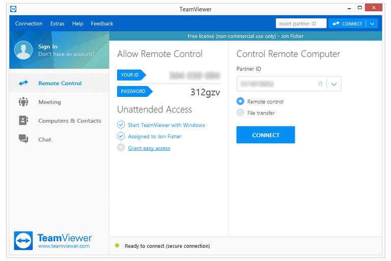Screenshot of TeamViewer v13 in Windows 8