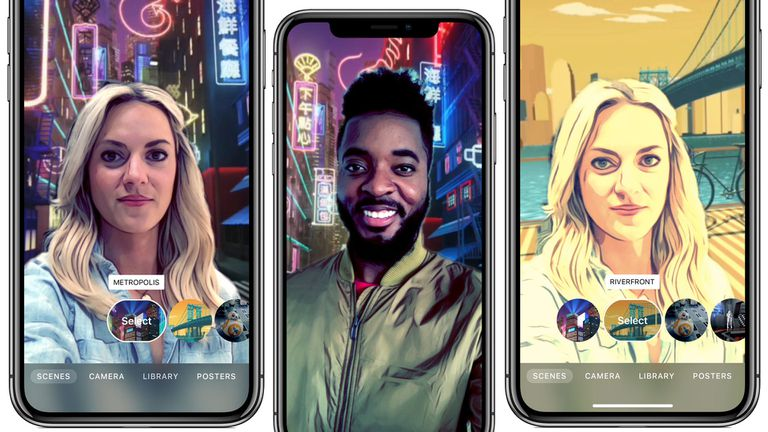 Apple Clips scenes feature running on iPhone X