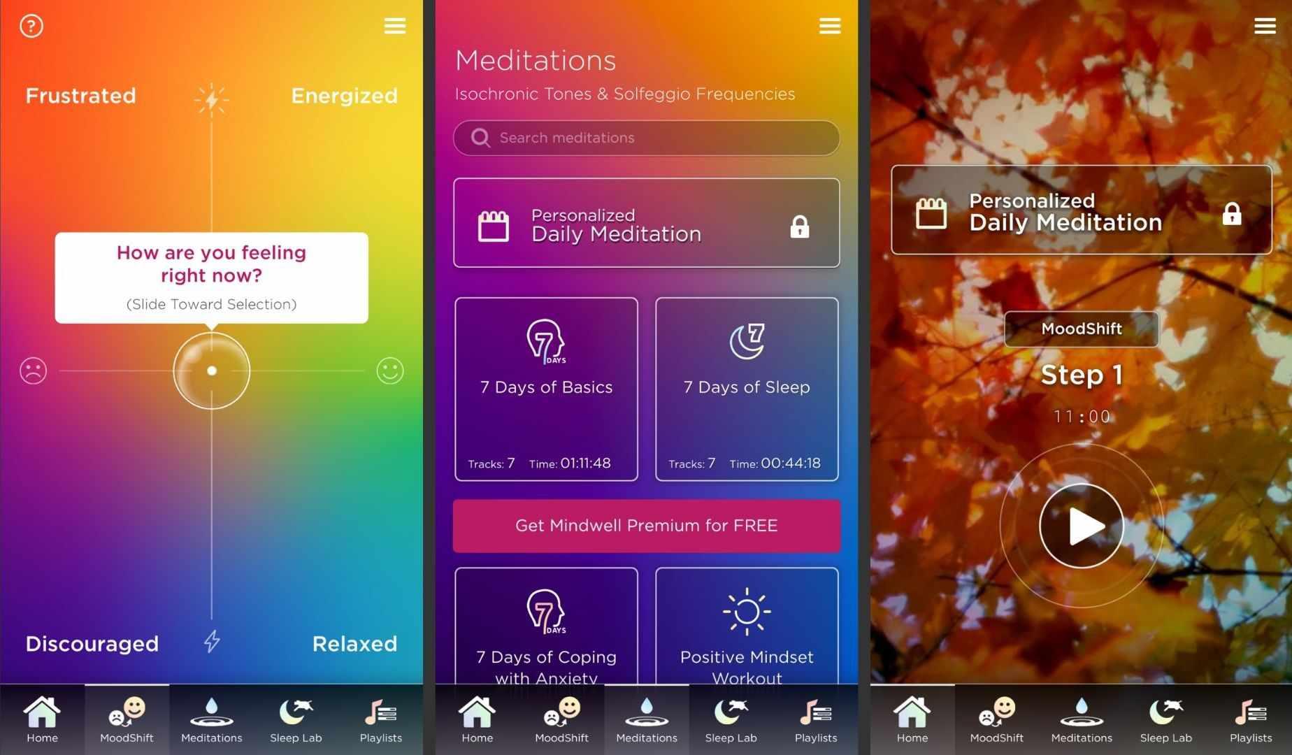 Three screenshots of the Mindwell app.