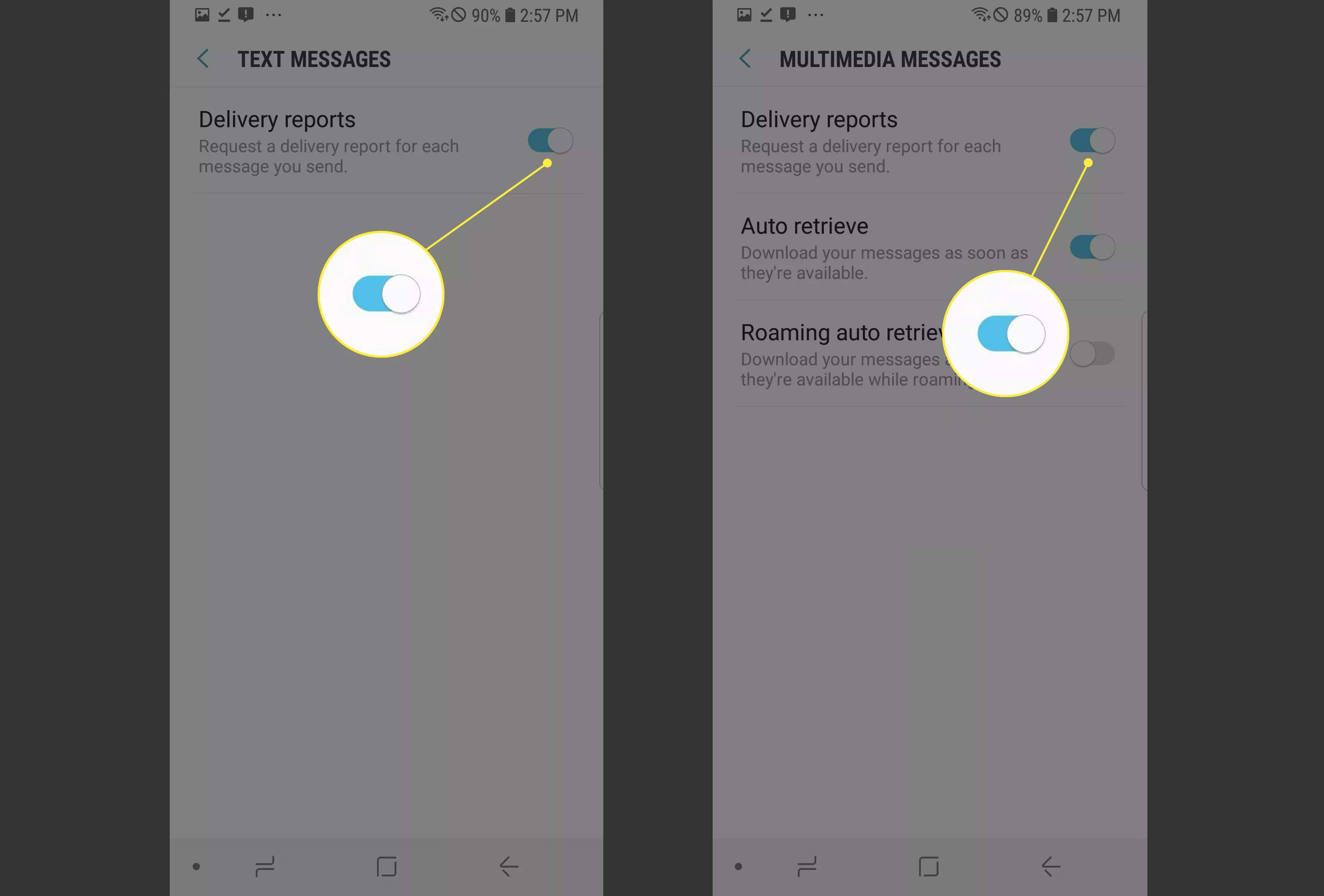 Delivery reports in Android