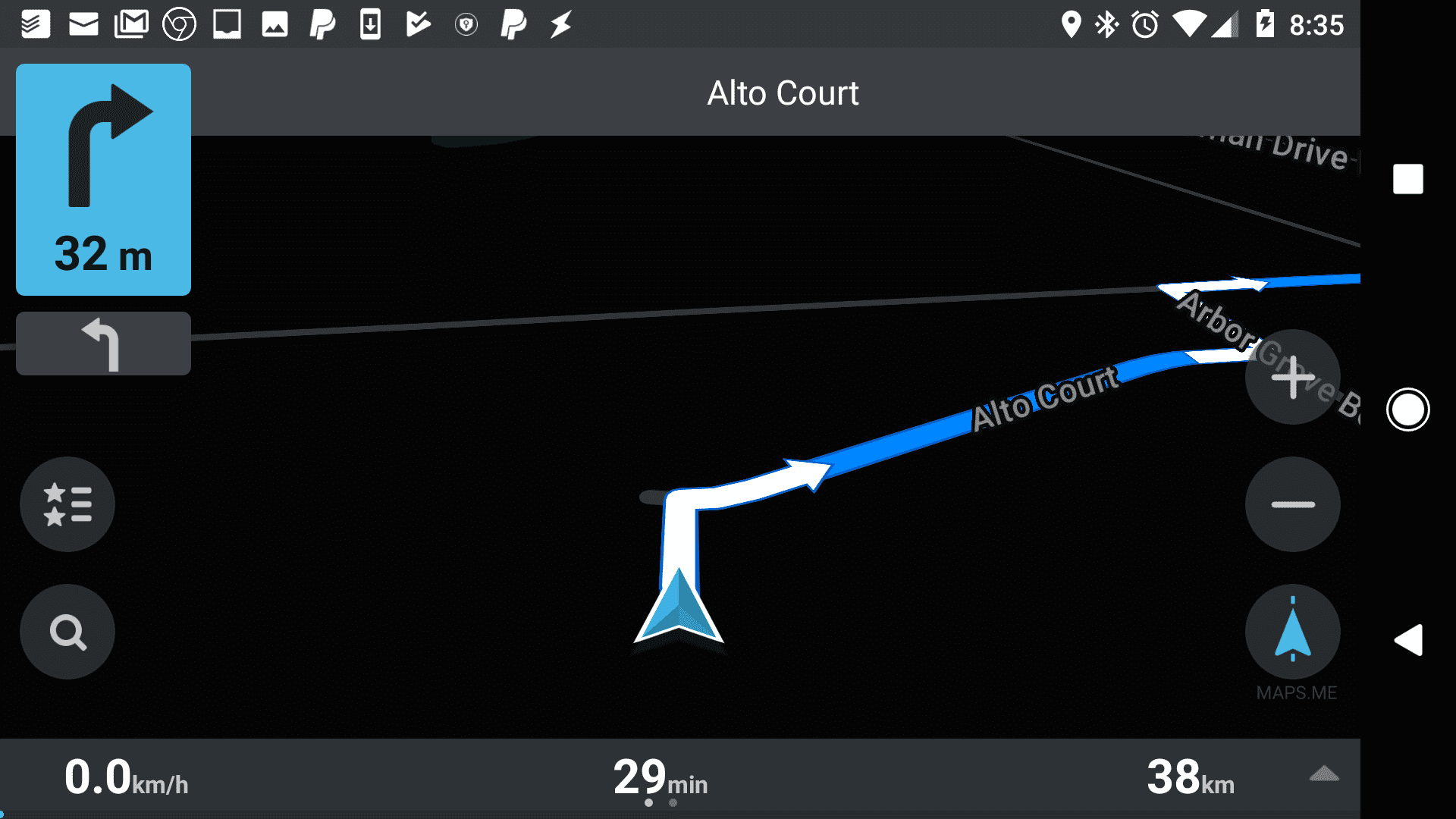 Screenshot of Offline Apps and Navigation driving screen