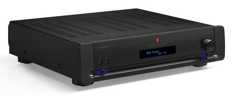 Front angle of the Parasound Halo P7 preamplifier in black, against a white background