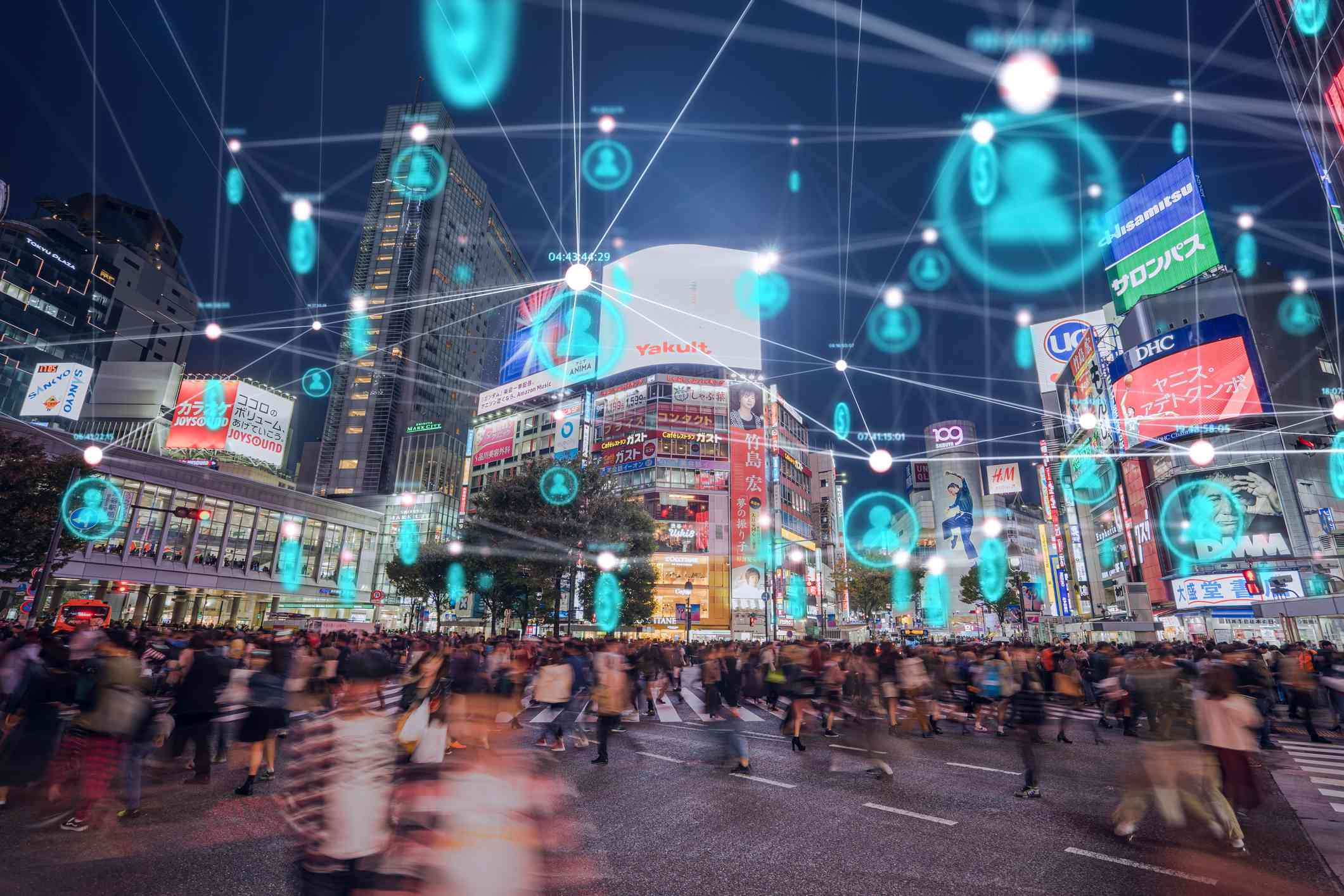 Global communication icon with network connections line above crowded people walking