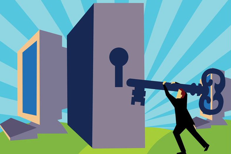Illustration of a man trying to unlock a computer with a huge key