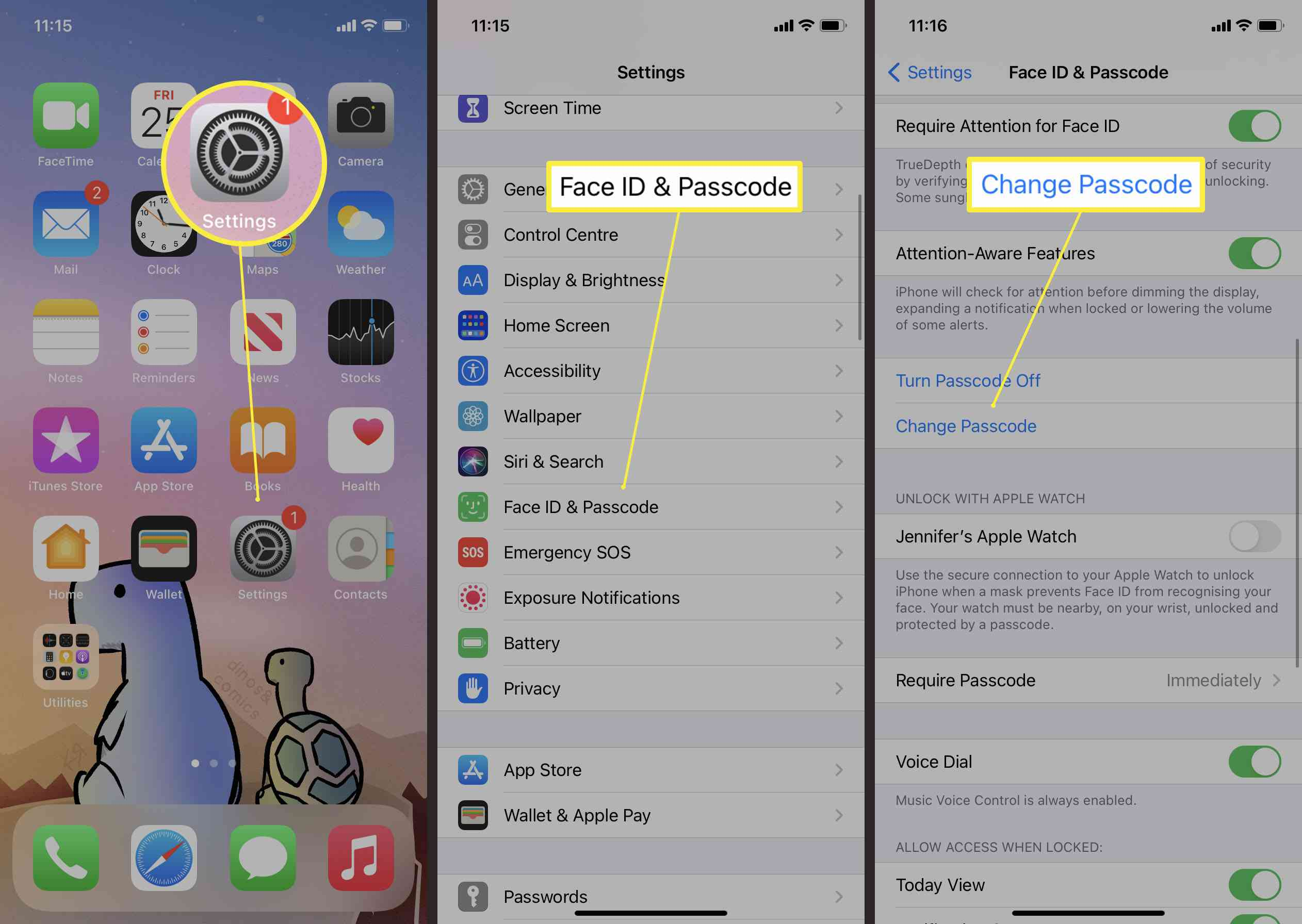 Steps required to change passcode on iPhone