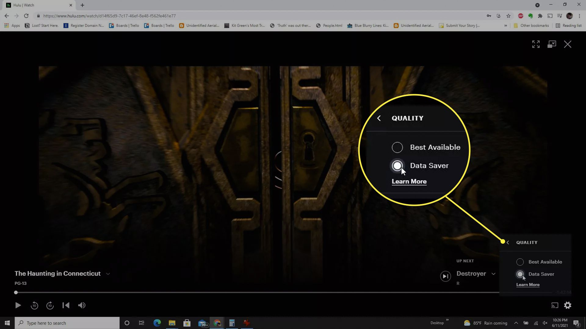Adjusting Hulu Chromecast video quality.