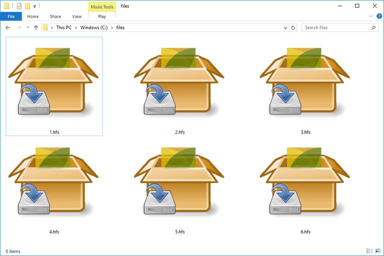 Screenshot of several HFS files