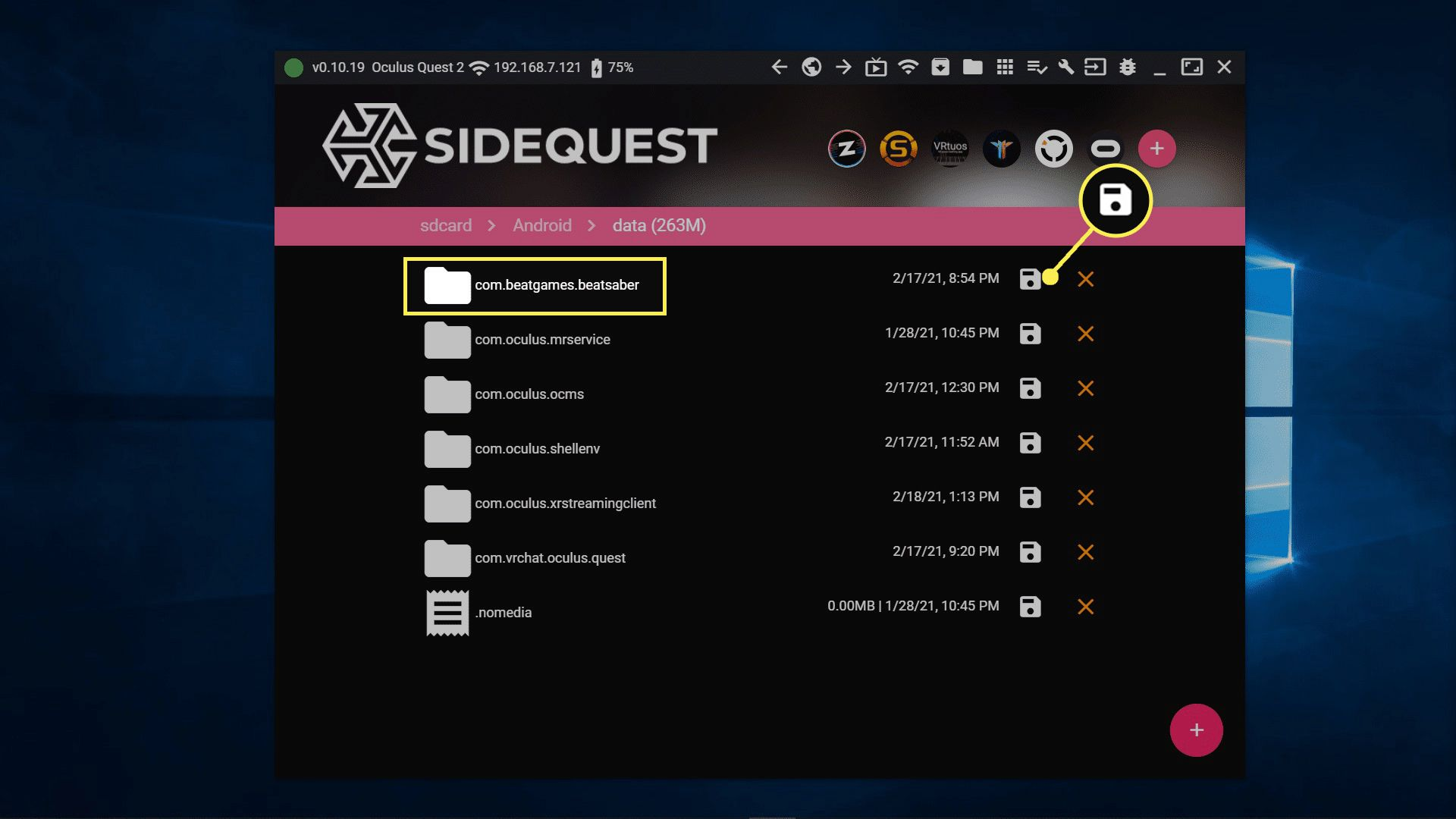 Installed apps listed in SideQuest.