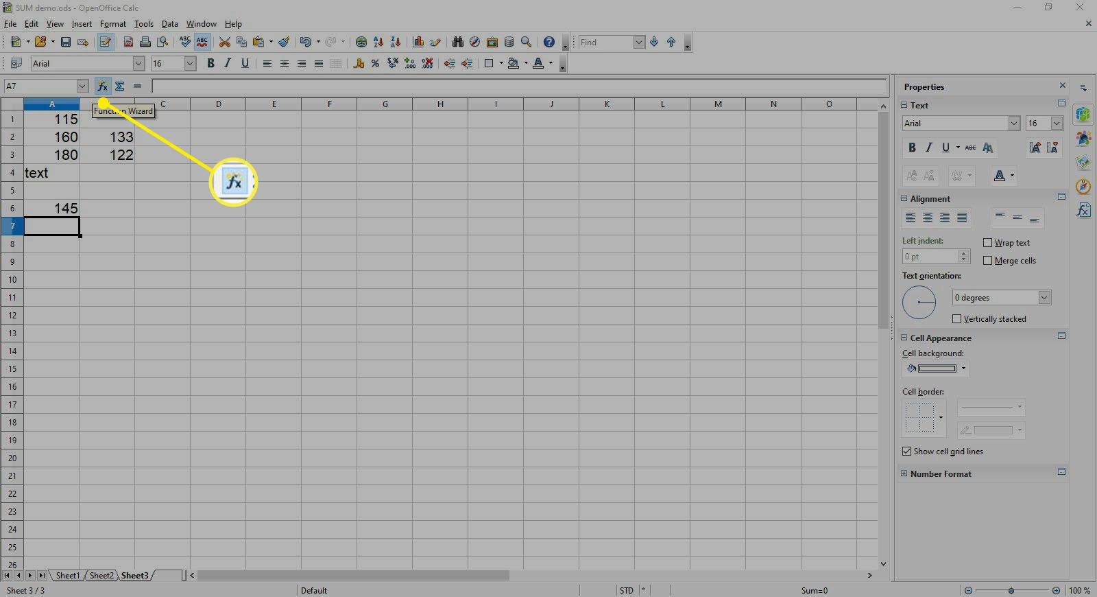 The Function Wizard button is highlighted in OpenOffice Calc.