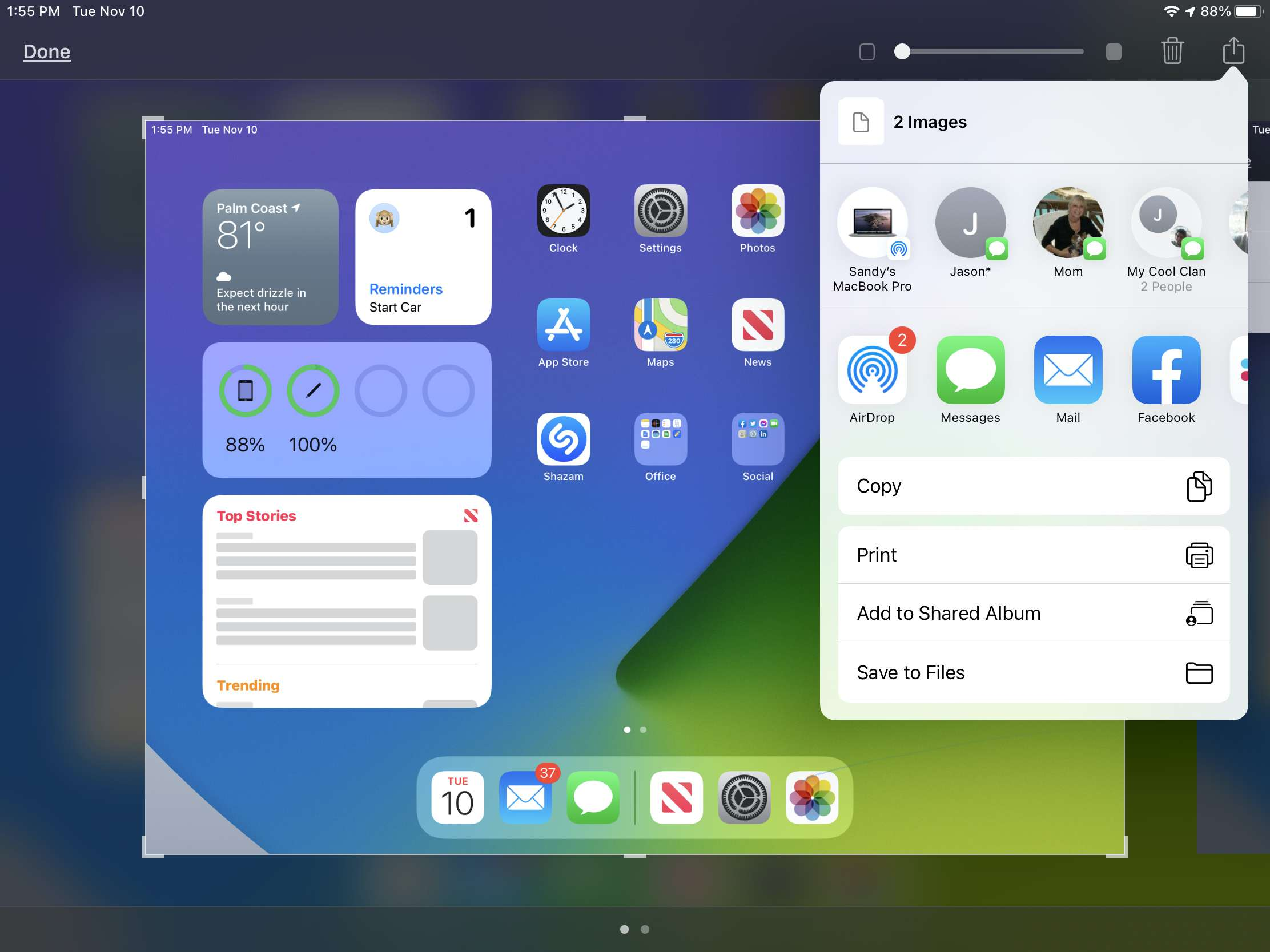 Tap the Share Button for a Screenshot on iPad