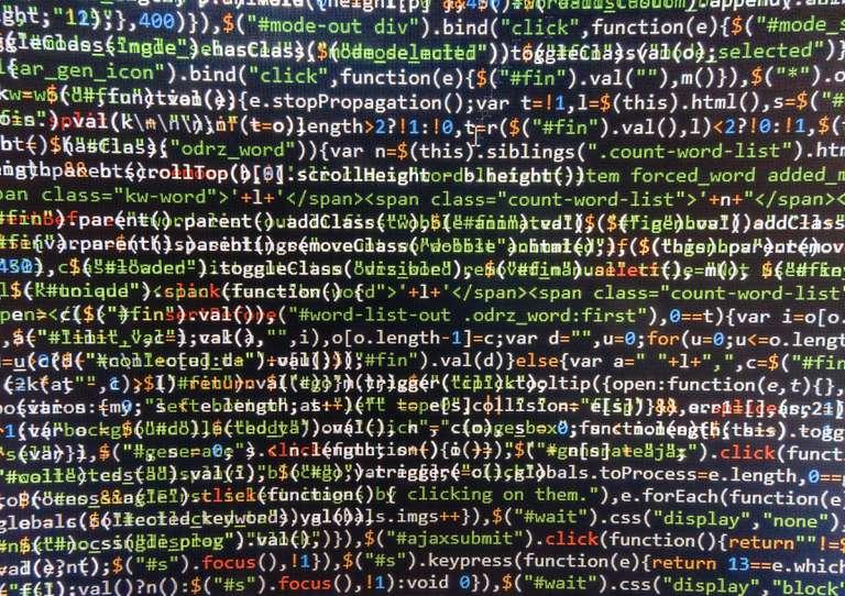 Screen full of random code