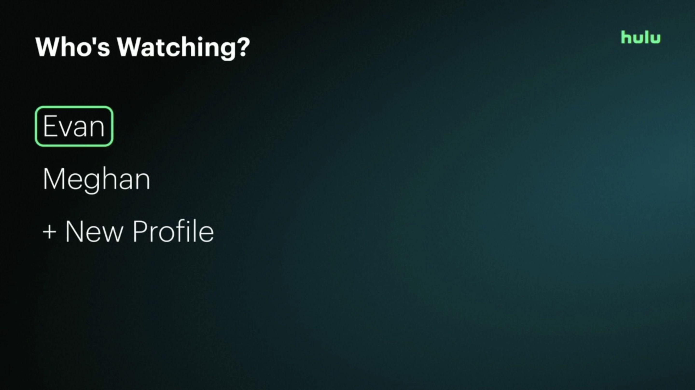 The profile selection screen in the Hulu app