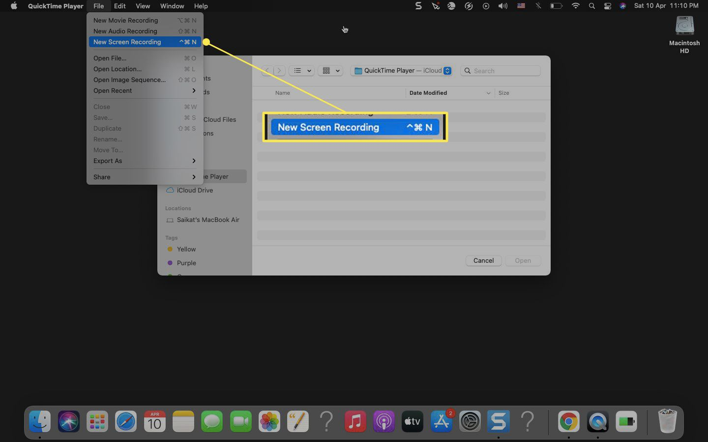 Quicktime Player on Mac with