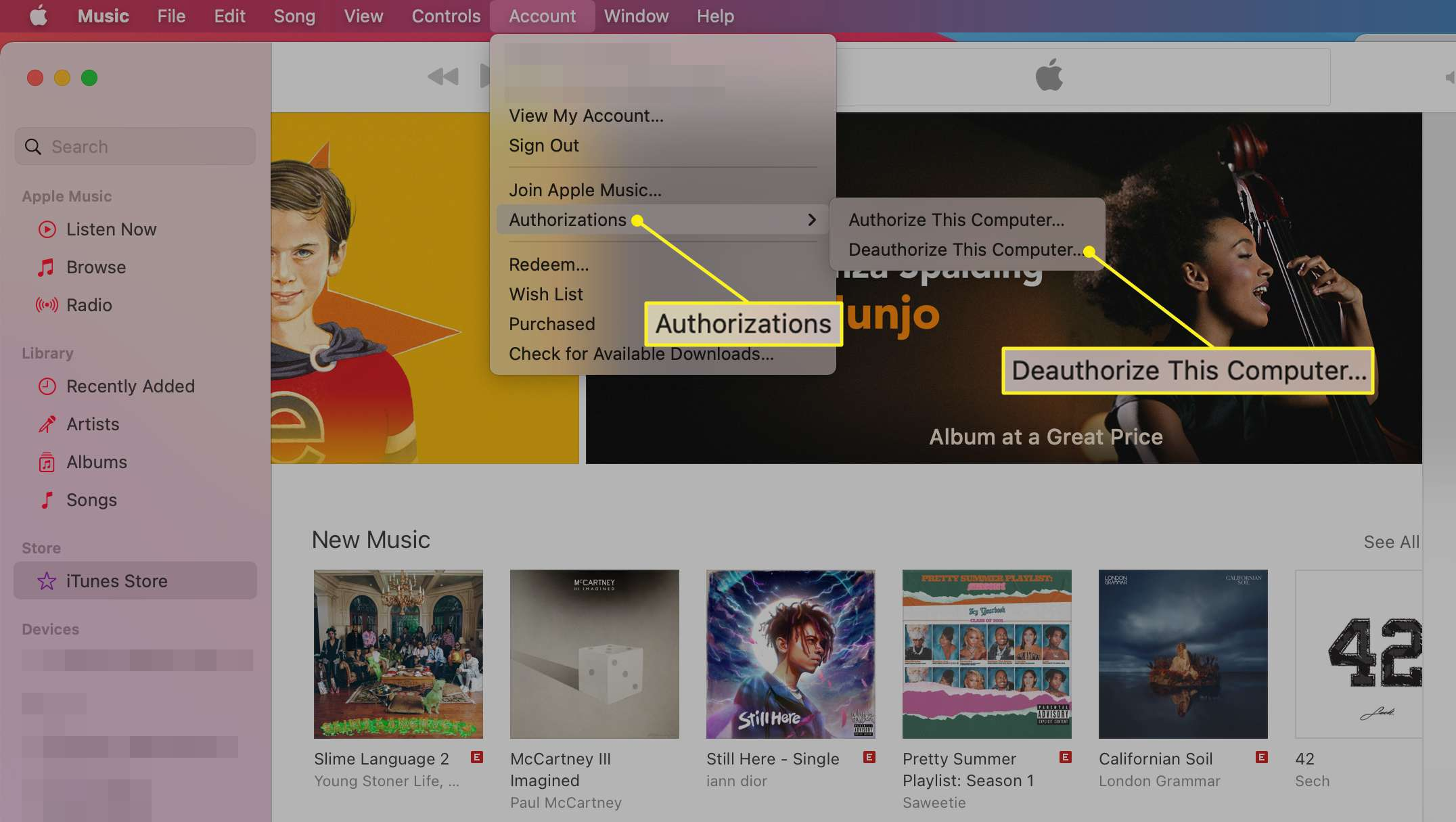Music app Account menu showing Authorizations