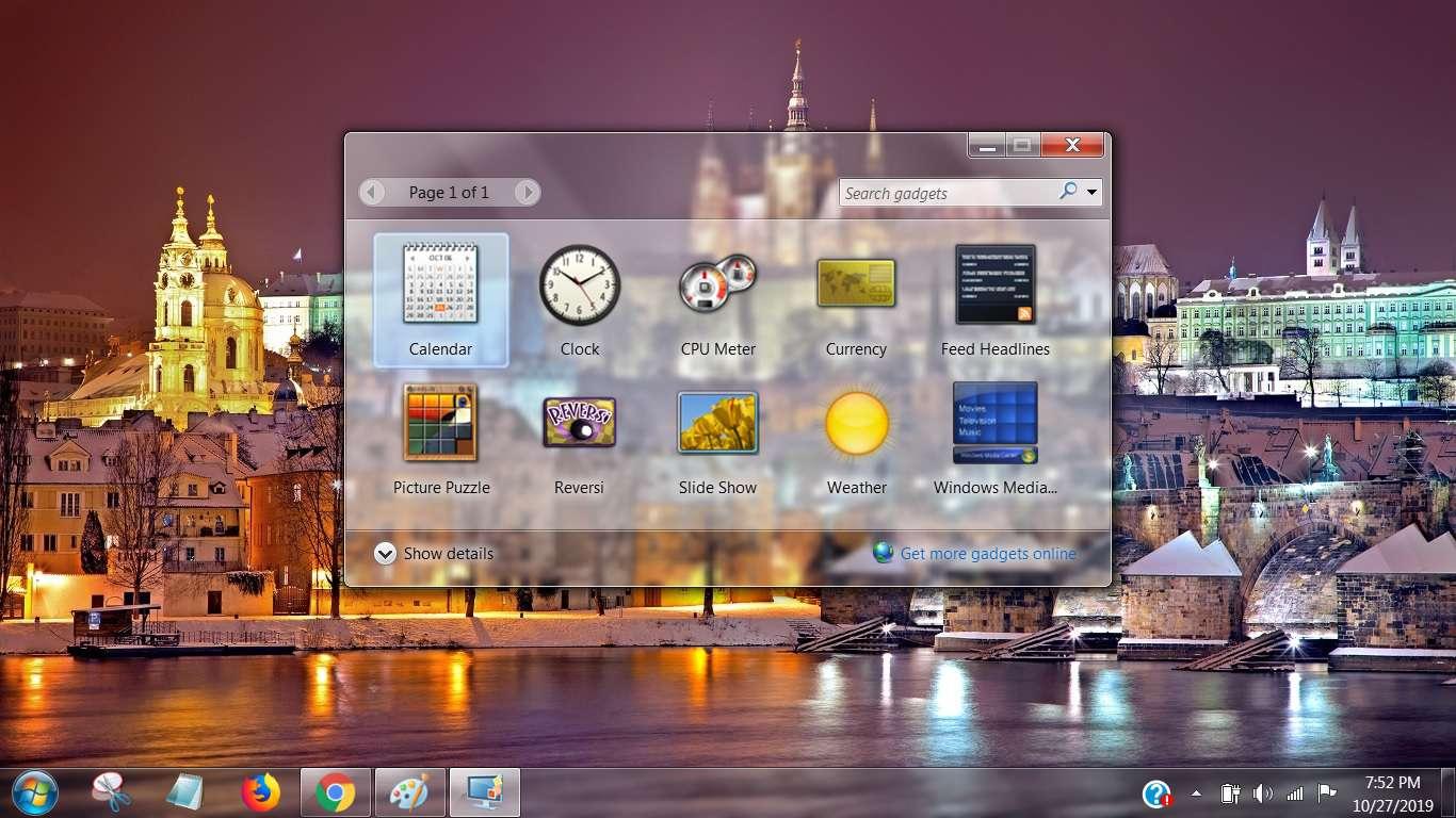 Screenshot of Gadgets in Windows 7