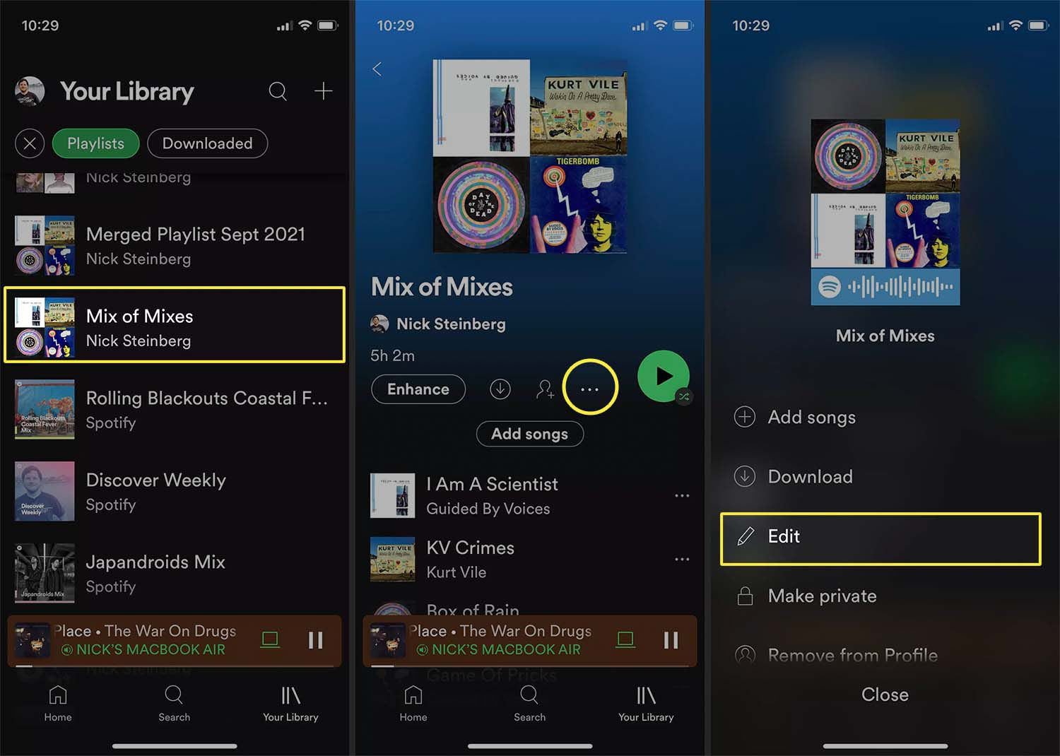 Editing playlist picture on Spotify iOS app.