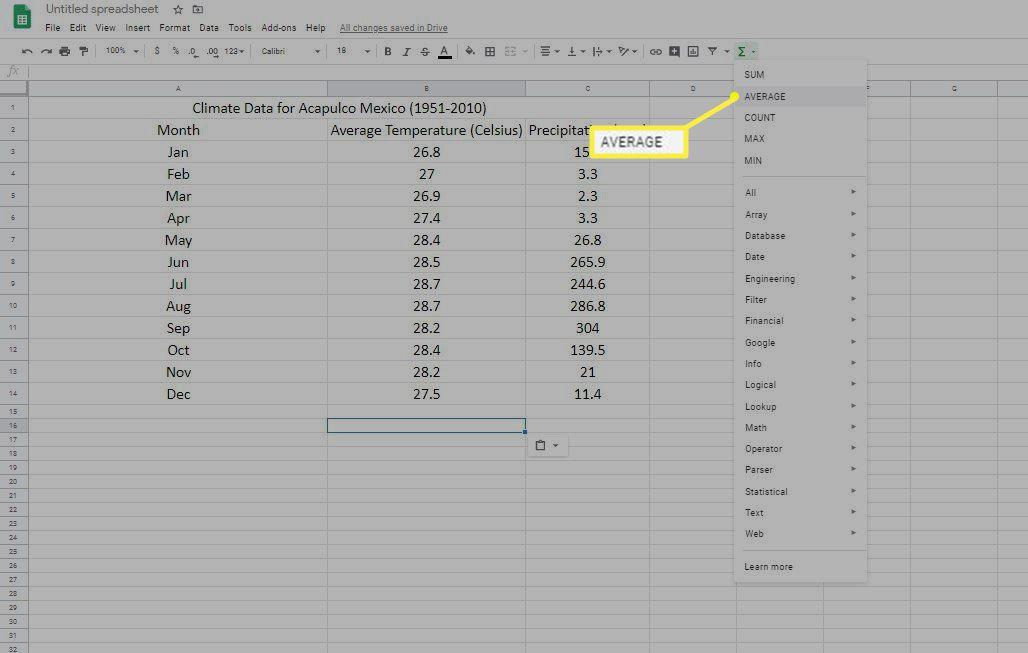 Google Sheets Average function in menu