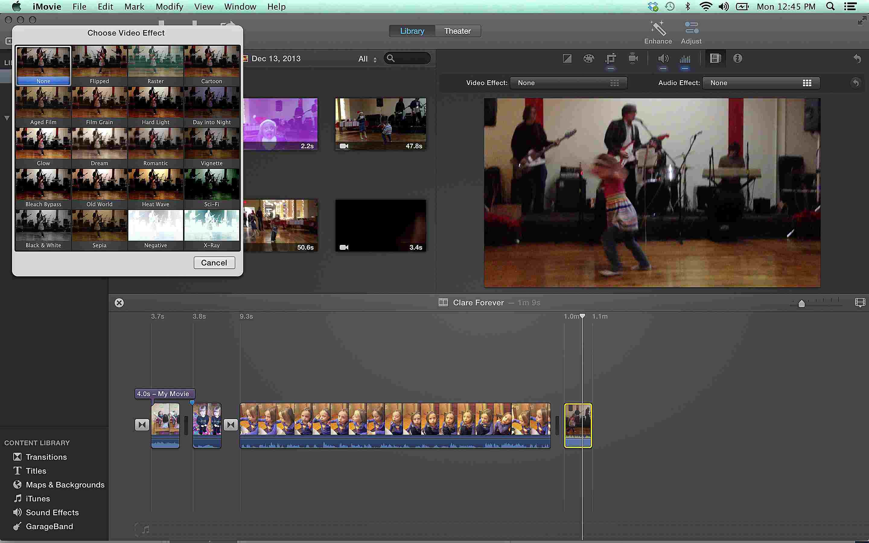 iMovie 10 Video Effects