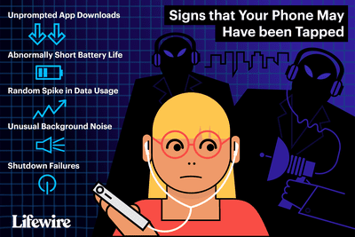 Illustration of worried woman holding phone, hackers lurking.