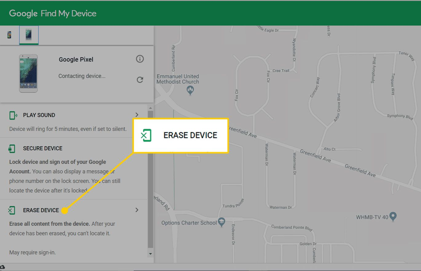 Erase Device option on Google's Find My Device site
