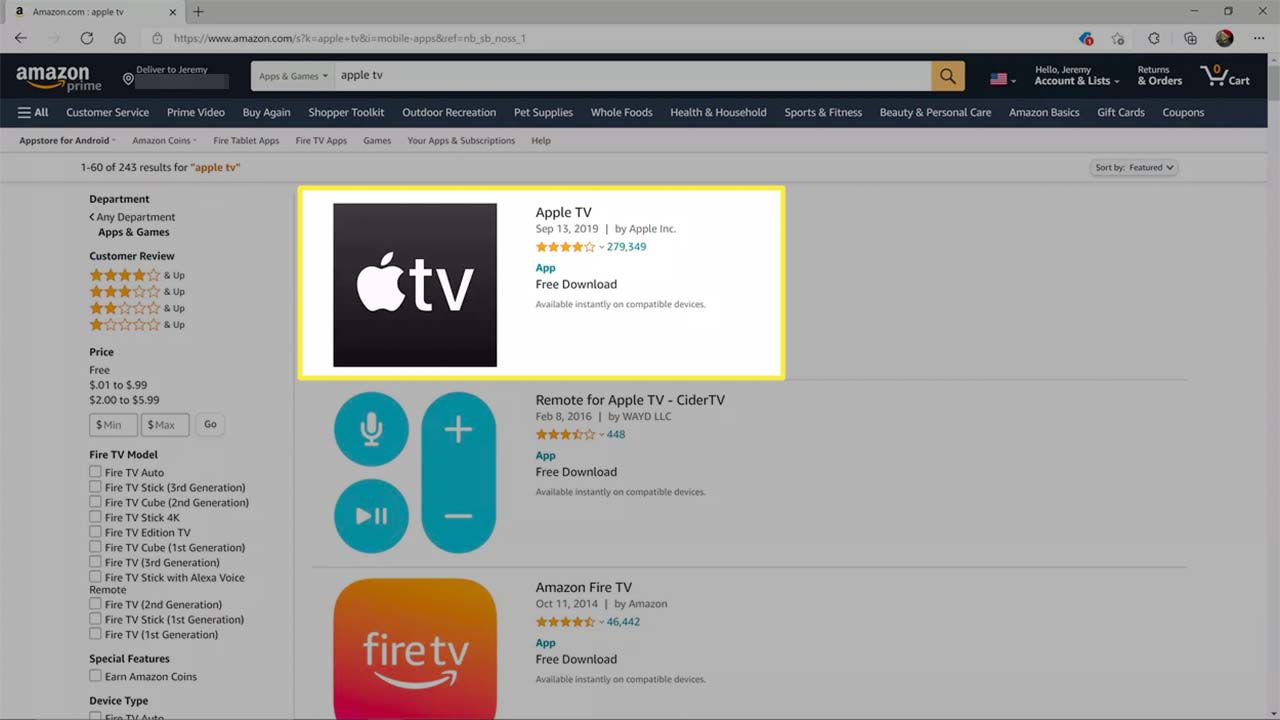 Apple TV highlighted on the Amazon app store.