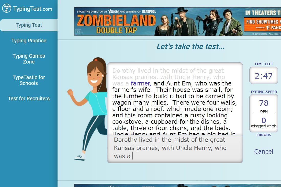 TypingTest.com three-minute free typing test
