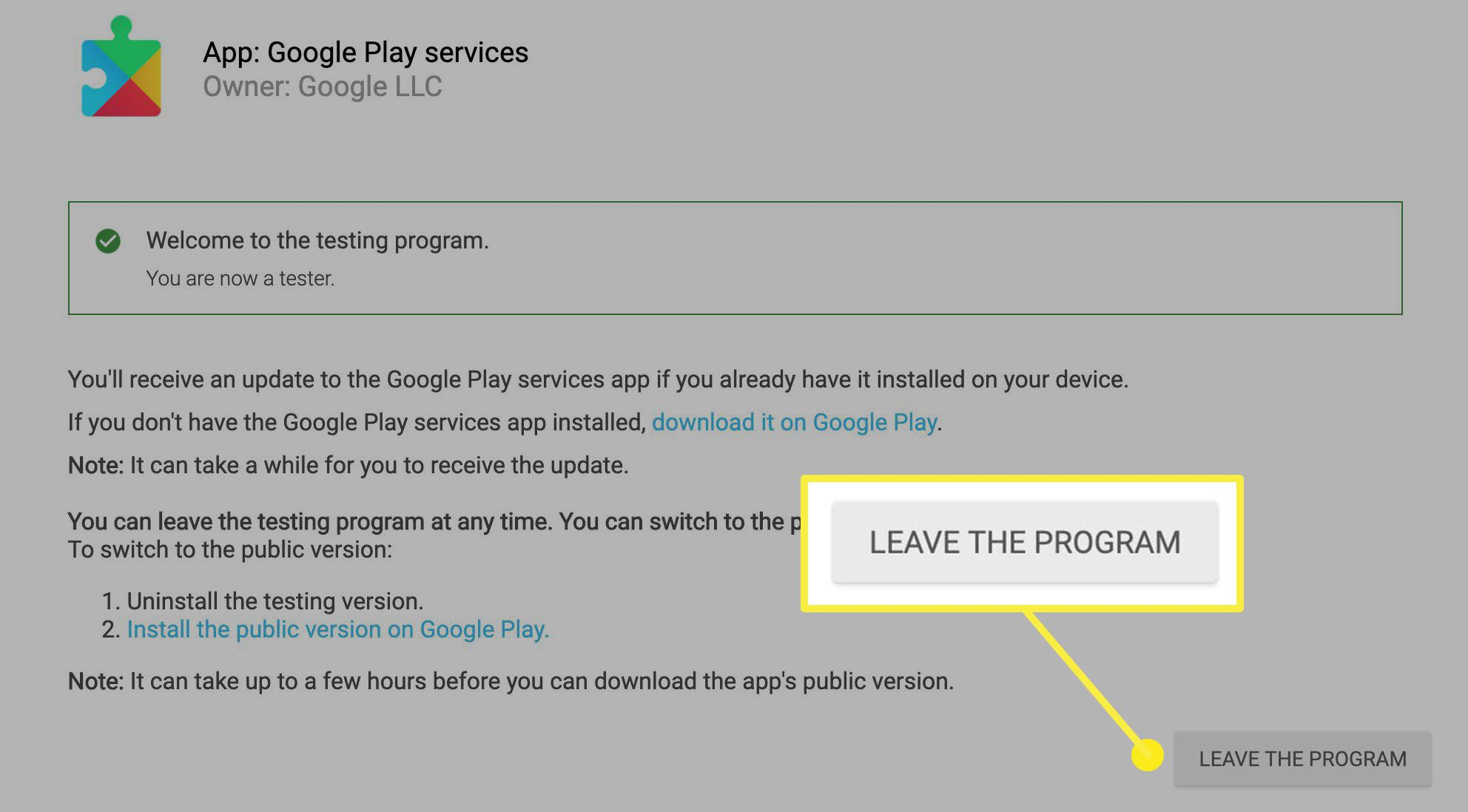 The button to click to leave the testing program in Google Play.