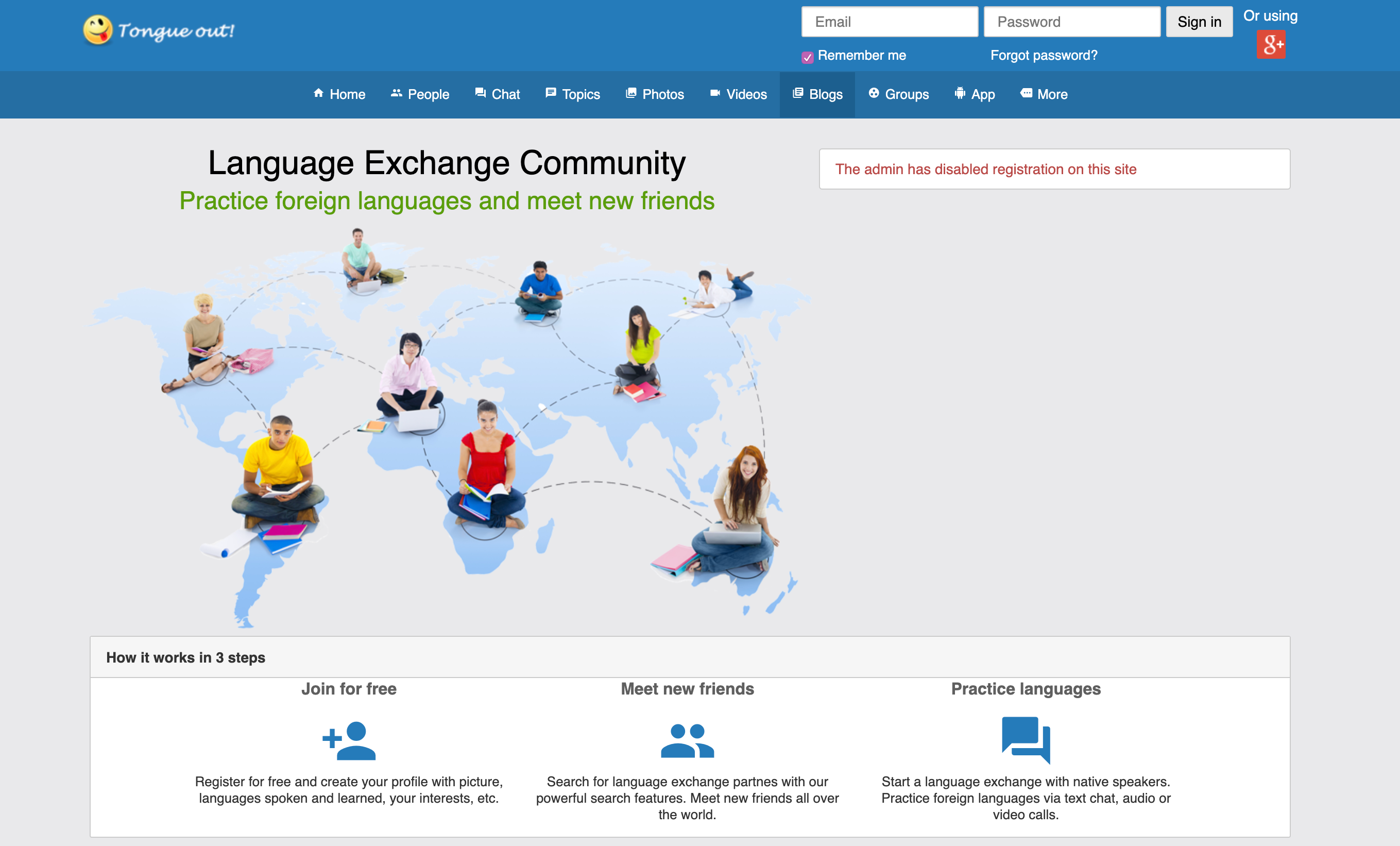 Screenshot of the Toungueout.net website for learning languages.