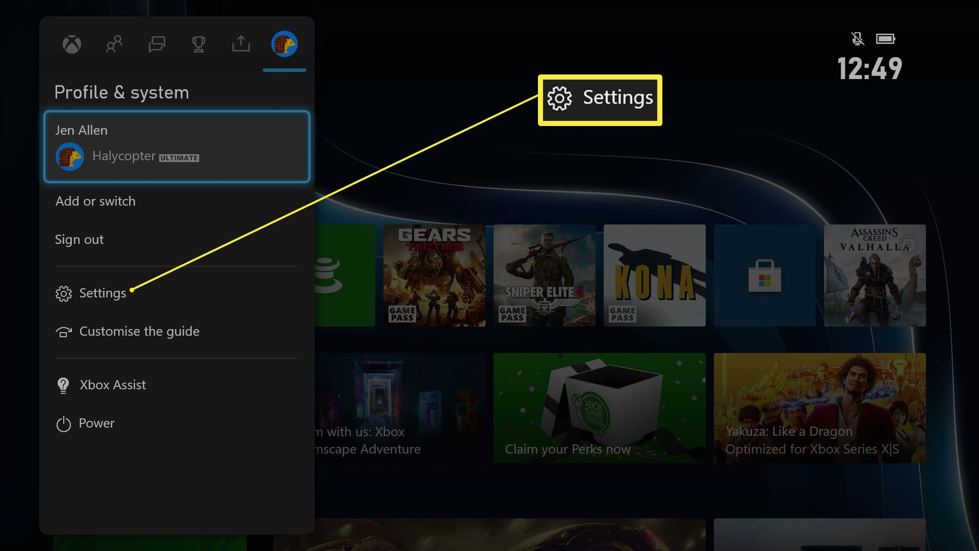 Xbox Series X/S dashboard with Settings highlighted