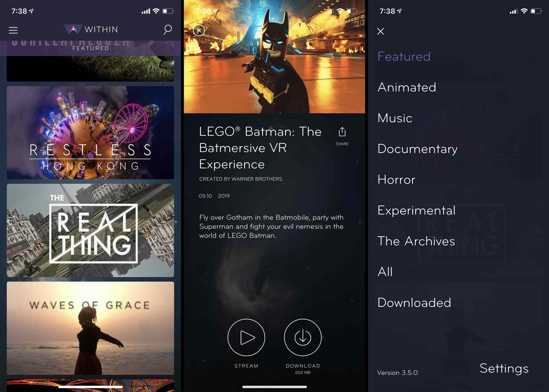 Within VR app movie selection menus on iPhone.