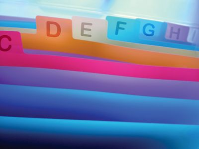Colored file folders arranged alphabetically.