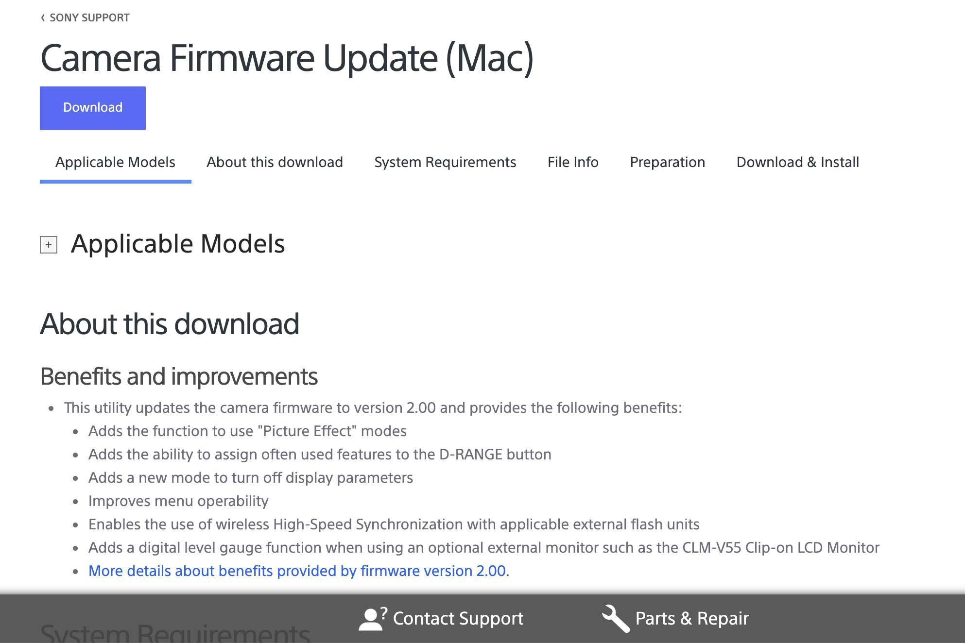 Sony camera firmware update screen