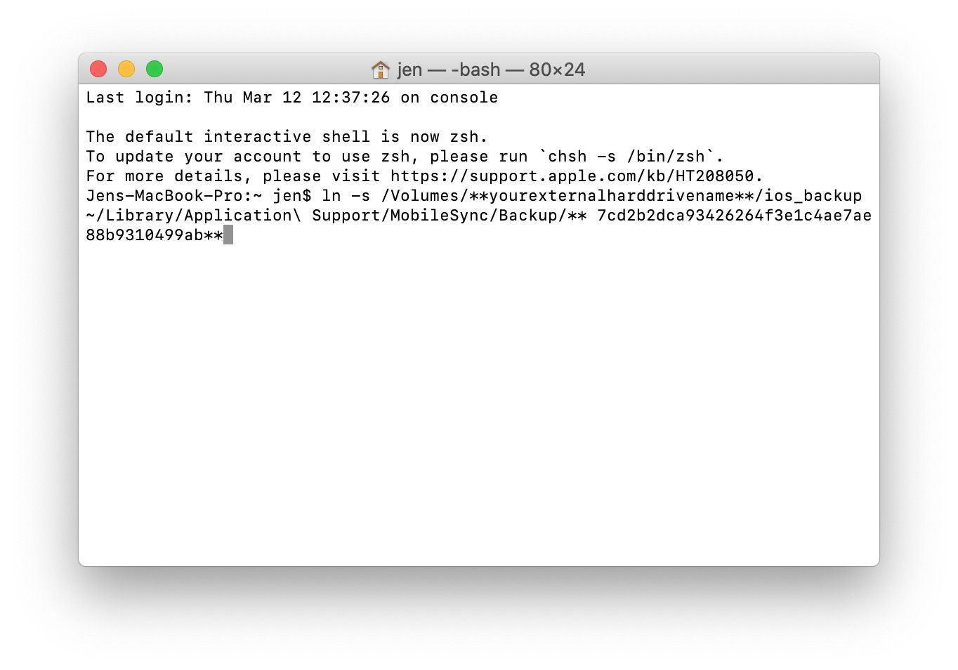 MacOS Terminal with commands for creating a symlink