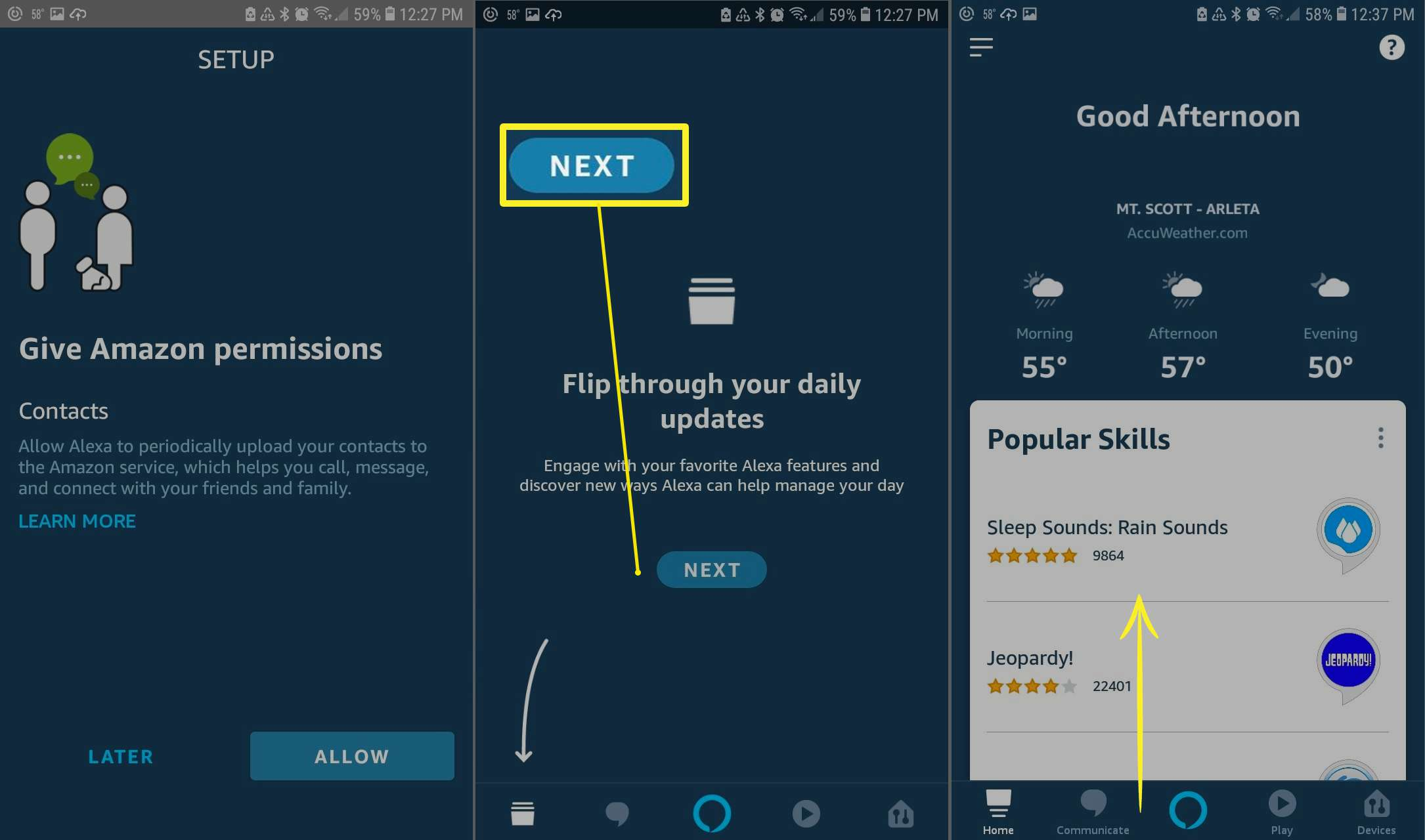 Setting up Alexa on Android