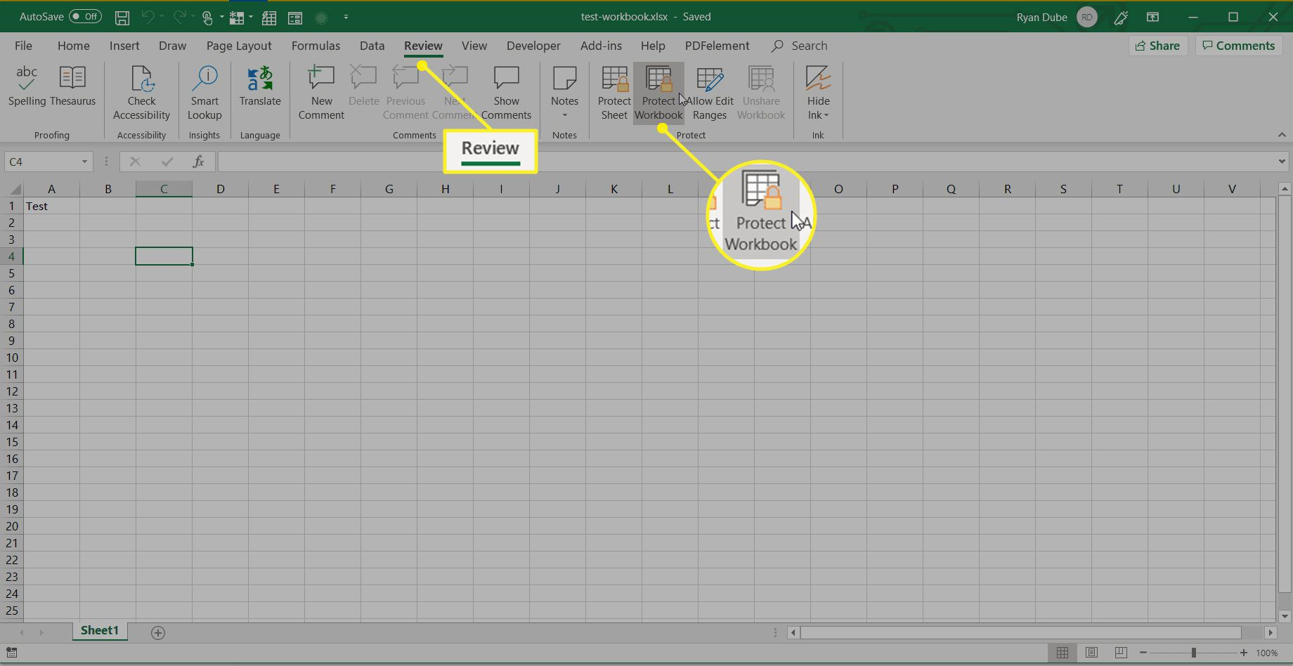 Excel Review tab with Protect Workbook highlighted